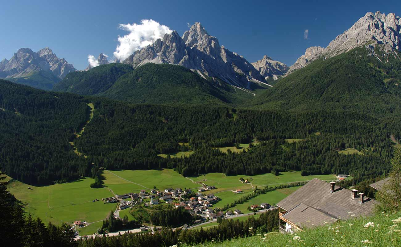 Panorama of the village of San Candido and the Pustertal