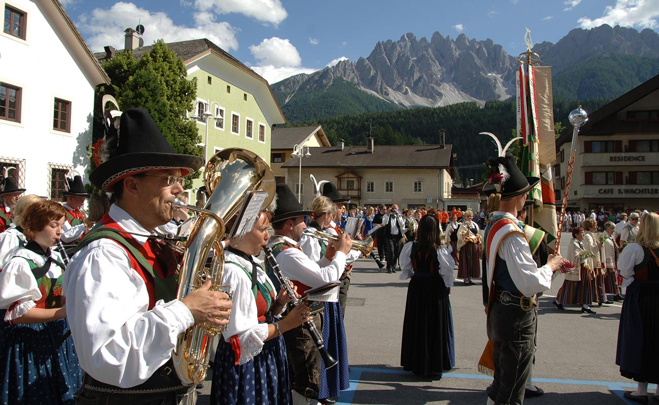 Music band plays in the streets of San Candido