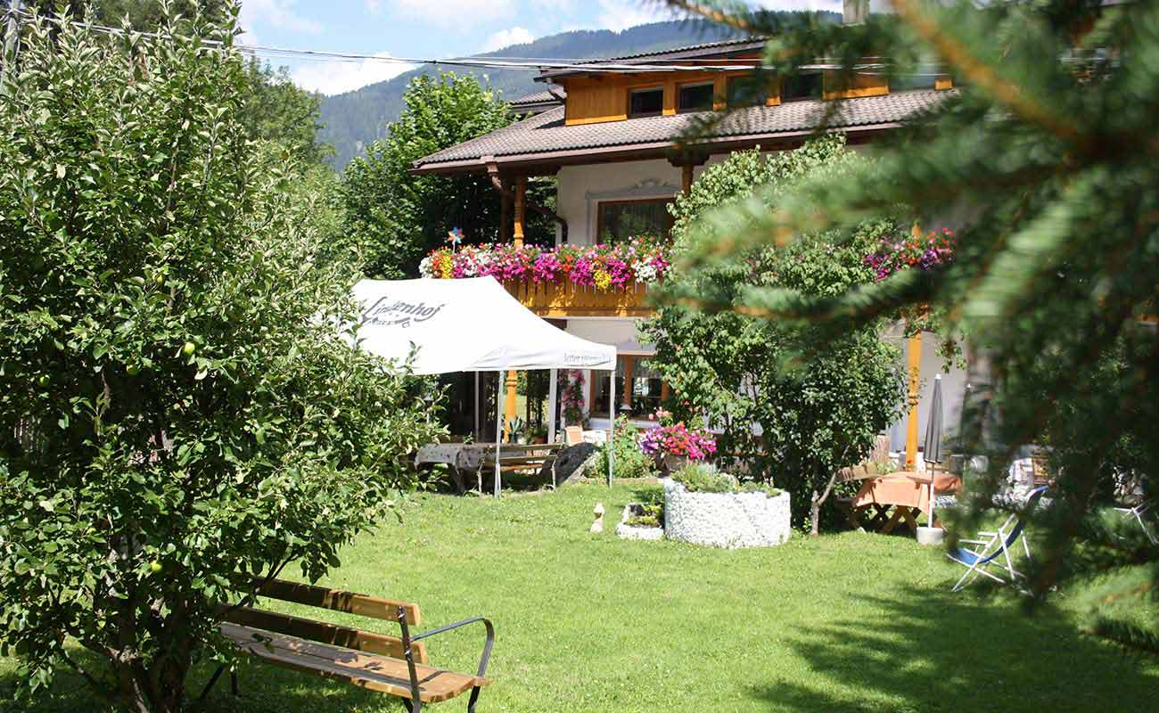 The garden of the Hotel Lindenhof in San Candido