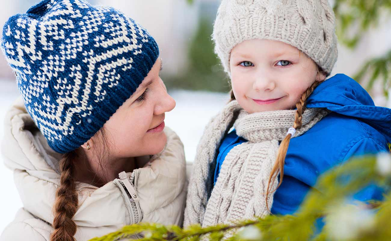 Mother and child outdoors in winter